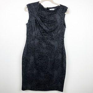 Calvin Klein Leopard print A-line Ruched Dress 10